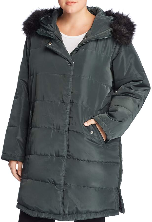 Lost Ink Plus Faux Fur Trim Puffer Coat