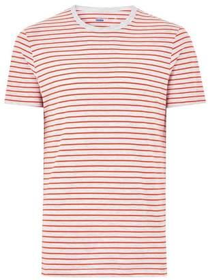Topman Mens Gray And Orange Striped T-Shirt