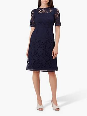 Hobbs Mandy Lace Dress, French Navy