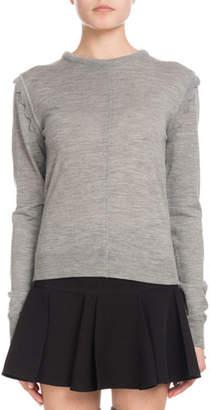 Chloé Scallop-Shoulder Crewneck Sweater