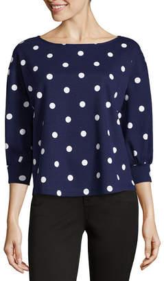 Liz Claiborne 3/4 Sleeve Round Neck Stripe T-Shirt-Womens