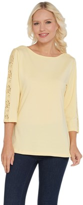 Denim & Co. Boat Neck 3/4 Sleeve w/ Lace Detail Curved Hem Top
