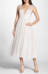 BY WATTERS Swiss Dot Tulle Tea Length Wedding Dress
