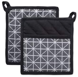 "Design Imports Black & White Triangle Potholders, Set of 2, 8.5""x8"", 100% Cotton, Black, White"