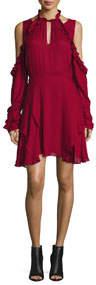 Hanie Cold-Shoulder Voile Dress Wine