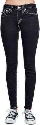 True Religion Super-Skinny Contrast-Stitch Jeans, Black