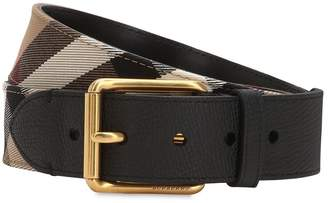 Burberry 40mm House Check Canvas & Leather Belt