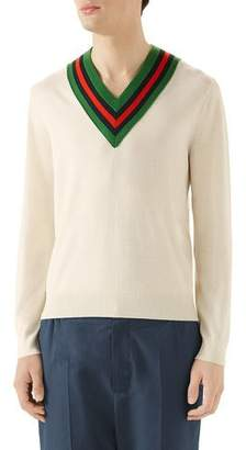 Gucci Men's Tipped Stripe V-Neck Sweater