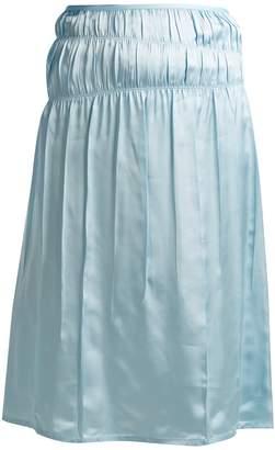 Helmut Lang Mid-rise satin slip skirt
