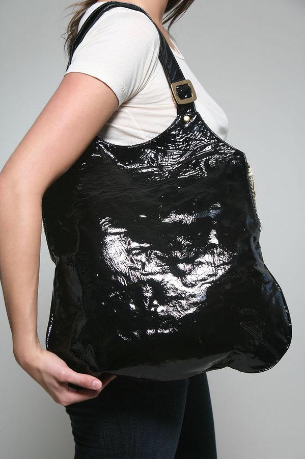Julie K Handbags Eliza Flat Tote in Black Patent