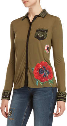 Desigual Embellished Flower Shirt
