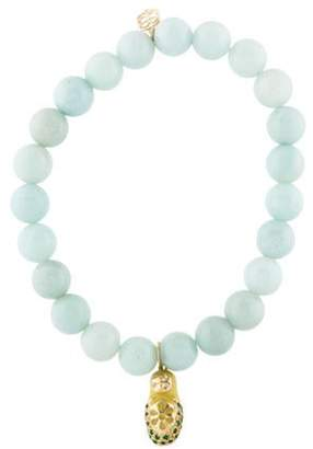 Sydney Evan 14K Amazonite, Emerald & Diamond Bead Bracelet 14K Amazonite, Emerald & Diamond Bead Bracelet