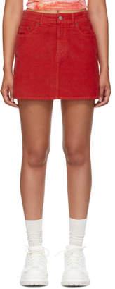 Acne Studios Red Bla Konst Corduroy Miniskirt