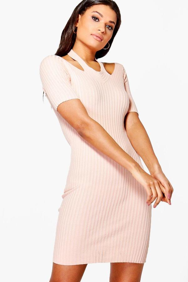 boohoo Daisy Cut Out Shoulder Rib Knit Jumper Dress