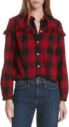 Frame Ruffle Trim Buffalo Check Shirt