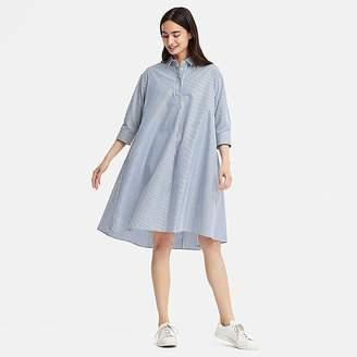 Uniqlo Women's Extra Fine Cotton A-line Striped 3/4 Sleeve Dress