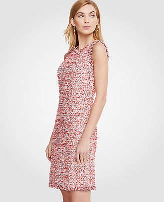 Ann Taylor Textured Tweed Fringe Shift Dress