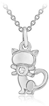 Lily & Lotty for Girls Lily & Lotty Girl's Silver Rhodium Plated Katie Cat Pendant on a Trace Chain of Length