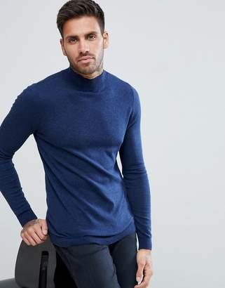 Asos DESIGN Cotton Turtleneck Sweater In Navy