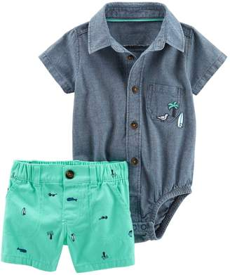 Carter's Baby Boy Button-Front Chambray Bodysuit & Surf Board Twill Shorts Set