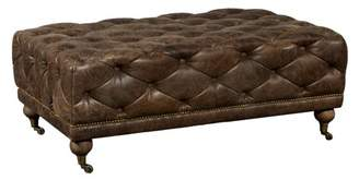 HomeFare Brown Button Tufted Leather Cocktail Ottoman