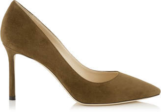 Jimmy Choo ROMY 85 Olive Suede Pointy Toe Pumps