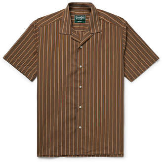 Gitman Brothers Camp-Collar Striped Cotton And Silk-Blend Shirt