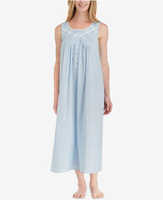 Eileen West Lace-Trimmed Cotton Ballet-Length Nightgown 1ddab31ea