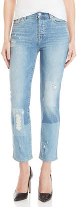 7 For All Mankind Edie Light Wash Distressed Color Block Jeans