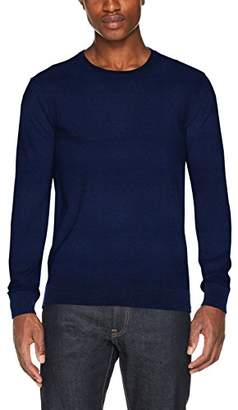 Scotch & Soda Men's AMS Blauw Crew Neck Knit in Cotton Cashmere Quality