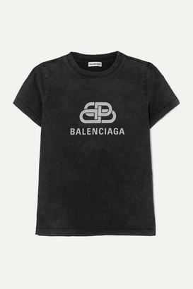 Balenciaga Metallic Printed Cotton-jersey T-shirt - Anthracite