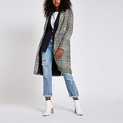 Womens Navy check single-breasted longline coat