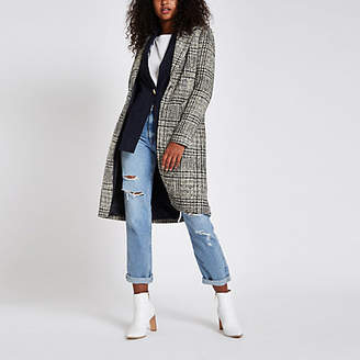 River Island Navy check single-breasted longline coat