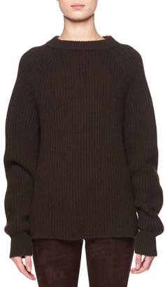 The Row Connor Crewneck Long-Sleeve Cashmere Sweater