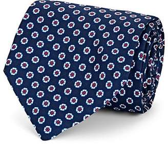 Barneys New York Men's Medallion-Print Silk Necktie - Navy