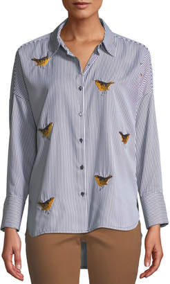 Velvet Heart Mardi Bird-Embroidered Button-Down Blouse