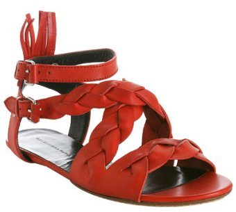 Balenciaga red braided leather gladiator sandals
