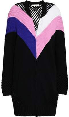 Maje Morgan Open Knit-Paneled Color-Block Cotton-Blend Cardigan