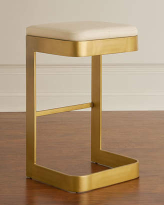 Global Views Jordan Leather & Brass Bar Stool