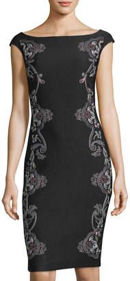 JAX Cap-Sleeve Embroidered Sheath Dress $119 thestylecure.com