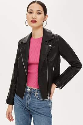 Topshop Womens Pu Biker Jacket - Black
