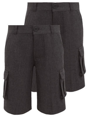 4fca7837c1eac George Boys Grey Plus Fit Cargo School Shorts 2 Pack