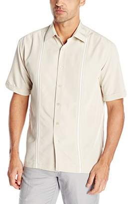 Cubavera Men's Short Sleeve Houndstooth-Print Shirt with Insert Panels