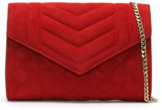Daniel Alcove Red Suede Quilted Clutch Bag