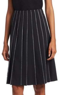 Piazza Sempione Contrast-Stitch Pleated Skirt