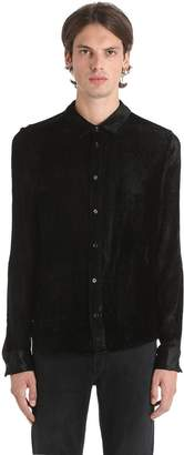 Shiny Velour & Silk Corduroy Shirt