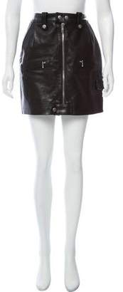 Frame Leather Zip-Up Skirt