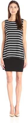MSK Women's Stripped Pop Over Knit Short Dress, Black/White