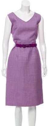 Christian Dior Wool Belted Midi Dress Purple Wool Belted Midi Dress