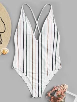 Shein Striped Criss Cross Low Back One Piece Swim